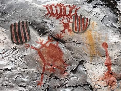 Pinturas rupestres no Parque Nacional Cavernas do Peruaçu (MG).